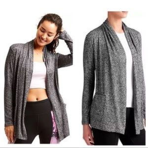 Athleta Pose Wrap Gray Black Marl Sweater Large